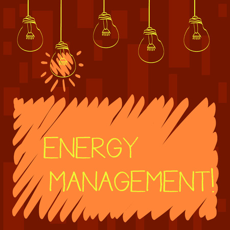 Text sign showing Energy Management. Business photo showcasing way of tracking and monitoring energy to conserve usage Set of Transparent Bulbs Hanging with Filament and One is in Lighted Icon Imagens - 122305940
