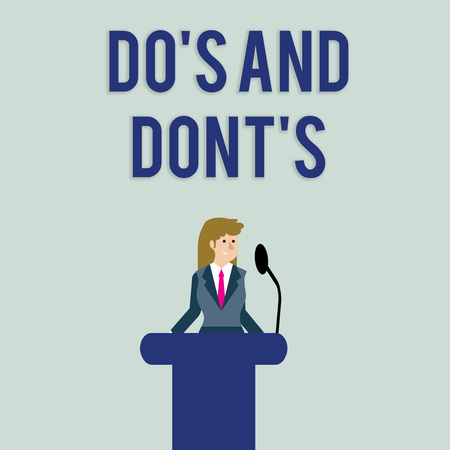 Text sign showing Do's Is And Dont's Is. Business photo text advising Rules or customs concerning some activity Businesswoman Standing Behind Podium Rostrum Speaking on Wireless Microphone 免版税图像 - 122307126