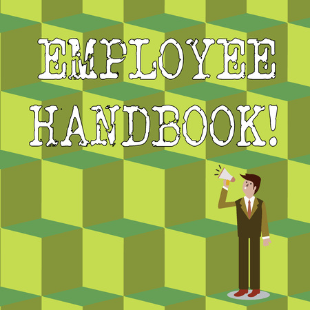 Handwriting text Employee Handbook. Conceptual photo states the rules and regulations and policies of a company Businessman Looking Up, Holding and Talking on Megaphone with Volume Icon