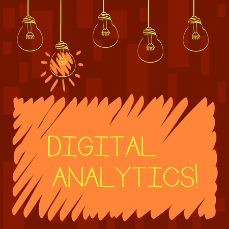 Text sign showing Digital Analytics. Business photo showcasing the analysis of qualitative and quantitative data Set of Transparent Bulbs Hanging with Filament and One is in Lighted Icon Imagens