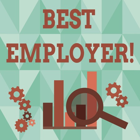 Word writing text Best Employer. Business photo showcasing creating a culture where employees feel valued and appreciated Magnifying Glass Over Bar Column Chart beside Cog Wheel Gears for Analysis