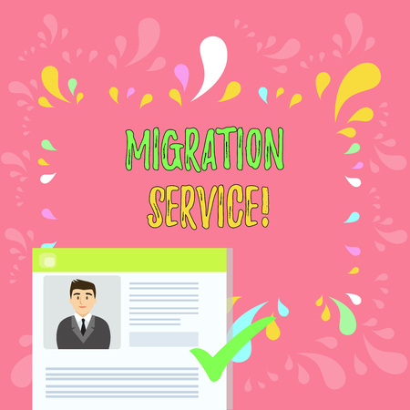 Word writing text Migration Service. Business photo showcasing moving of company data to a cloud service providers