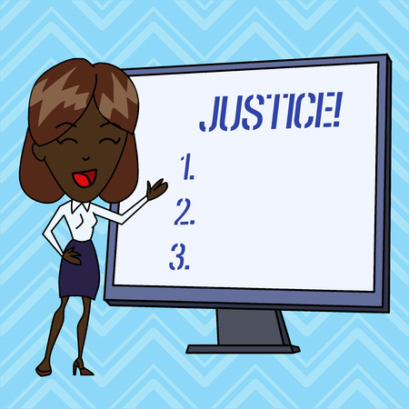 Handwriting text writing Justice. Conceptual photo impartial adjustment of conflicting claims or assignments Imagens