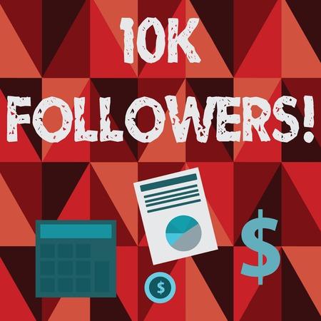 Conceptual hand writing showing 10K Followers. Imagens