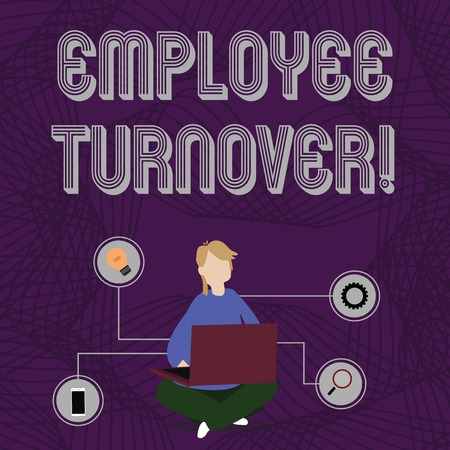 Word writing text Employee Turnover. Business photo showcasing the percentage of workers who leave an organization Woman Sitting Crossed Legs on Floor Browsing the Laptop with Technical Icons Banco de Imagens