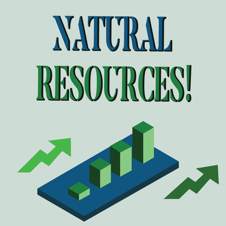 Word writing text Natural Resources. Business photo showcasing materials that occur in nature and used for economic gain Colorful Clustered 3D Bar Chart Graph Diagram in Perspective with Two Arrows