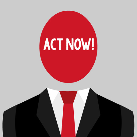 Writing note showing Act Now. Business concept for do not hesitate and start working or doing stuff right away Imagens