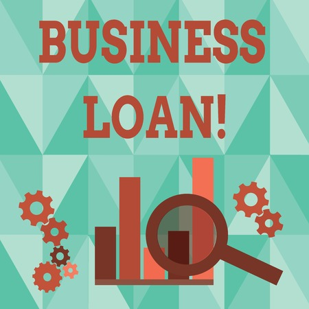 Word writing text Business Loan. Business photo showcasing Loans provided to small businesses for various purposes Magnifying Glass Over Bar Column Chart beside Cog Wheel Gears for Analysis