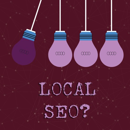 Text sign showing Local Seoquestion. Business photo text incredibly effective way to market your local business online Color Incandescent Pendant Bulb Hanging with One Different Shade Lightbulb