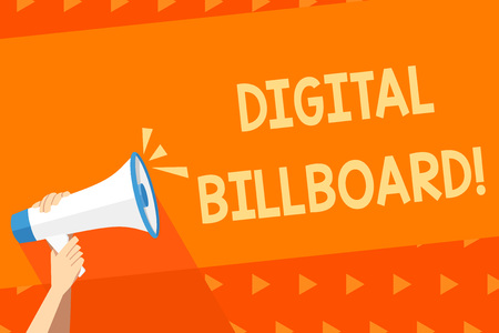 Writing note showing Digital Billboard. Business concept for billboard that displays digital images for advertising Human Hand Holding Megaphone with Sound Icon and Text Space