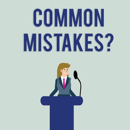 Text sign showing Common Mistakes question. Business photo text repeat act or judgement misguided or wrong Businesswoman Standing Behind Podium Rostrum Speaking on Wireless Microphone 스톡 콘텐츠
