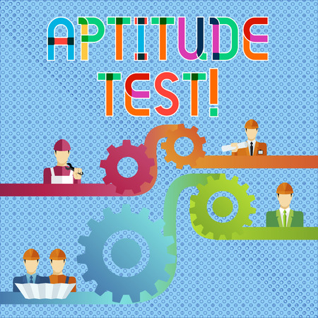 Handwriting text Aptitude Test. Conceptual photo designed to determine a demonstrating s is ability in a particular skill Cog Gear Setting Icon Connecting Men from Different Professional Character