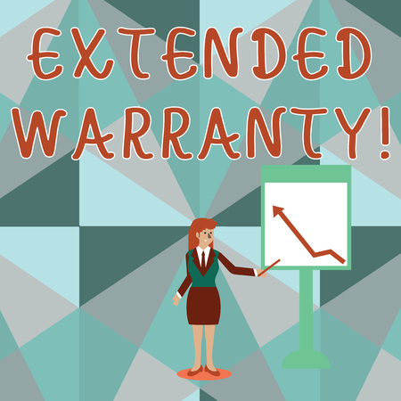 Conceptual hand writing showing Extended Warranty. Concept meaning contract which gives a prolonged warranty to consumers Woman Holding Stick Pointing to Chart of Arrow on Whiteboard