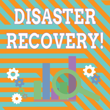 Text sign showing Disaster Recovery. Business photo showcasing helping showing affected by a serious damaging event Magnifying Glass Over Bar Column Chart beside Cog Wheel Gears for Analysis Banque d'images