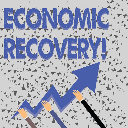 Word writing text Economic Recovery. Business photo showcasing rise of business activity signaling the end of a recession Three Hands Holding Colorful Zigzag Lightning Arrow Pointing and Going Up