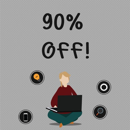 Conceptual hand writing showing 90 Percent Off. Concept meaning 90 percent reduction on the original price of a product Woman Sitting with Crossed Legs on Floor Browsing the Laptop Imagens