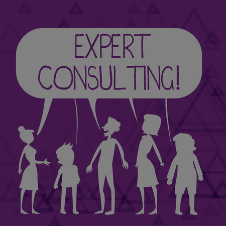 Writing note showing Expert Consulting. Business concept for providing of expert knowledge to a third party for a fee Figure of People Talking and Sharing Colorful Speech Bubble
