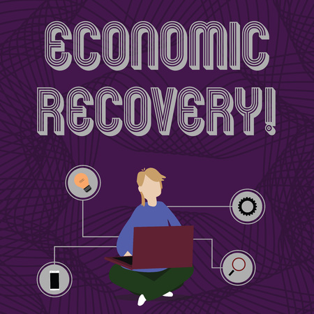 Word writing text Economic Recovery. Business photo showcasing rise of business activity signaling the end of a recession Woman Sitting Crossed Legs on Floor Browsing the Laptop with Technical Icons