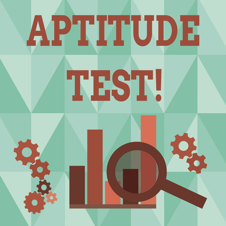 Word writing text Aptitude Test. Business photo showcasing designed to determine a demonstrating s is ability in a particular skill Magnifying Glass Over Bar Column Chart beside Cog Wheel Gears for Analysis Banco de Imagens