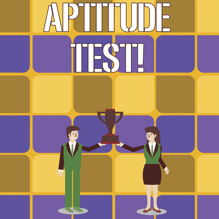 Conceptual hand writing showing Aptitude Test. Concept meaning designed to determine a demonstrating s is ability in a particular skill Man and Woman Business Suit Holding Championship Trophy Cup Фото со стока