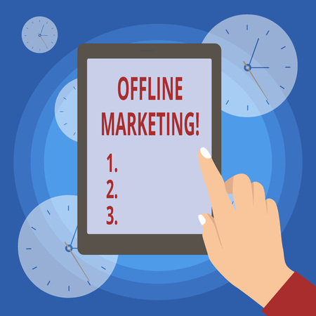 Handwriting text writing Offline Marketing. Conceptual photo Advertising strategy published outside of the internet 스톡 콘텐츠