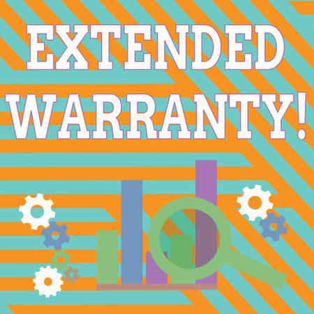 Text sign showing Extended Warranty. Business photo showcasing contract which gives a prolonged warranty to consumers Magnifying Glass Over Bar Column Chart beside Cog Wheel Gears for Analysis