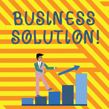 Word writing text Business Solution. Business photo showcasing ideas used to help a company achieve its objectives Smiling Businessman Climbing Bar Chart Following an Arrow Going Up