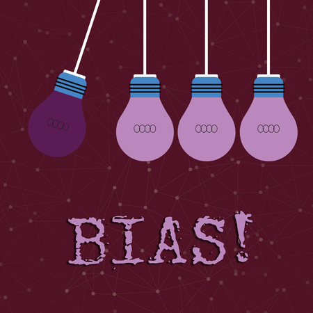 Text sign showing Bias. Business photo text inclination or prejudice for or against one demonstrating group Color Incandescent Pendant Bulb Hanging with One Different Shade Lightbulb