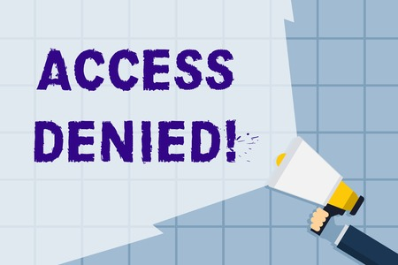 Conceptual hand writing showing Access Denied. Concept meaning error message shown when you do not have access rights Hand Holding Megaphone with Beam Extending the Volume Range