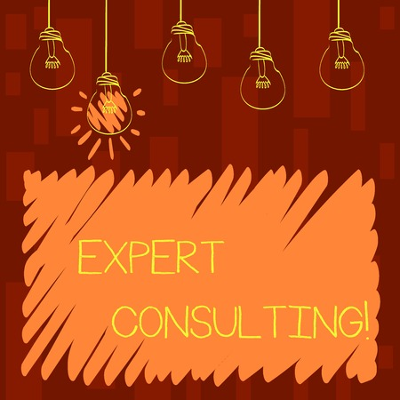 Text sign showing Expert Consulting. Business photo showcasing providing of expert knowledge to a third party for a fee Set of Transparent Bulbs Hanging with Filament and One is in Lighted Icon Imagens - 122306685