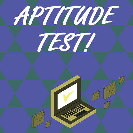 Handwriting text Aptitude Test. Conceptual photo designed to determine a demonstrating s is ability in a particular skill Color Mail Envelopes around Laptop with Check Mark icon on Monitor Screen Imagens
