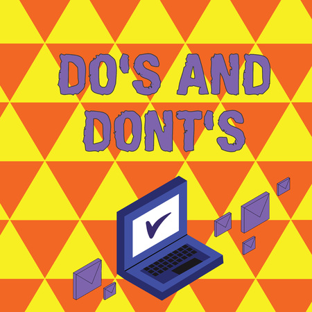 Text sign showing Do's Is And Dont's Is. Business photo showcasing advising Rules or customs concerning some activity Color Mail Envelopes around Laptop with Check Mark icon on Monitor Screen