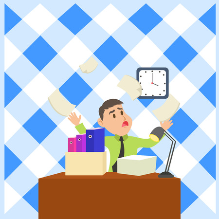 Confused Male Employee Manager Cluttered Workspace Overflow Time Shortage Business Empty template for Layout for invitation greeting card promotion poster voucher Banco de Imagens - 122329588