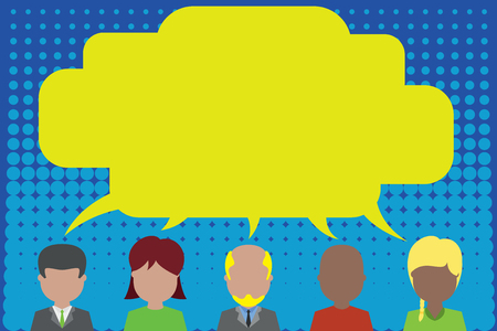 Five different races persons sharing blank speech bubble. People talking Business Empty template for Layout for invitation greeting card promotion poster voucher Illustration