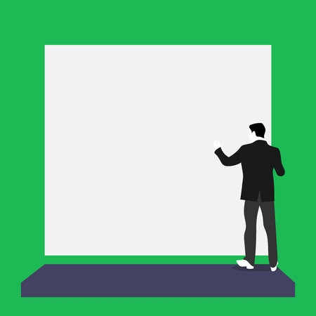 Short hair immature young man stand in front of rectangle big blank board Design business Empty copy space text for Ad website promotion isolated Banner template.
