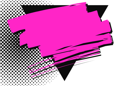 Magenta Smudges Overlapping Black Upside Triangle against Dotted Background Design business Empty copy space text for Ad website promotion isolated Banner template