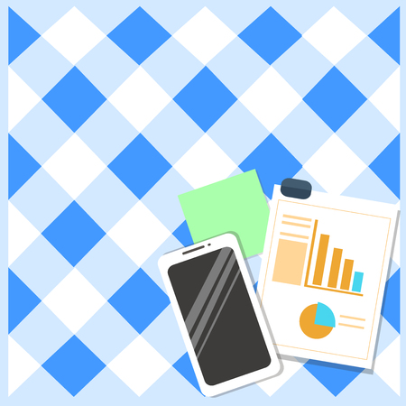 Layout Smartphone Off Sticky Notes Clipboard with Pie Chart and Bar Graph Design business concept Empty copy text for Web banners promotional material mock up template.
