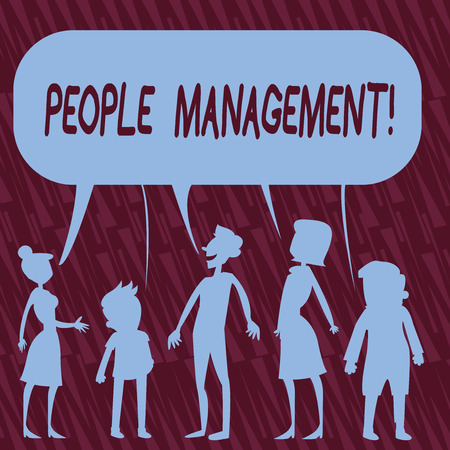 Text sign showing People Management. Business photo text process of unlocking and channelling employees potential Silhouette Figure of People Talking and Sharing One Colorful Speech Bubble