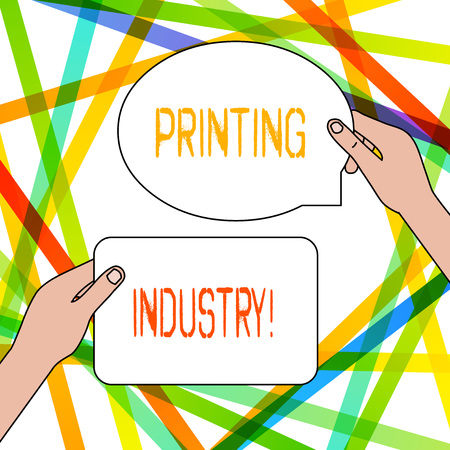 Writing note showing Printing Industry. Business concept for industry involved in production of printed matter