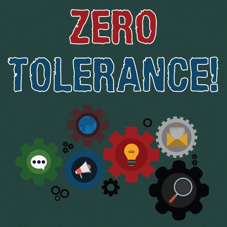 Écrit remarque montrant la tolérance zéro. Concept d'entreprise pour le refus d'accepter un comportement antisocial ou un comportement inapproprié Ensemble d'icônes de réseautage social en ligne mondial