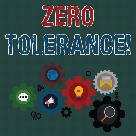 Writing note showing Zero Tolerance. Business concept for refusal to accept antisocial behaviour or improper behaviour Set of Global Online Social Networking Icons Cog Wheel Gear Banque d'images