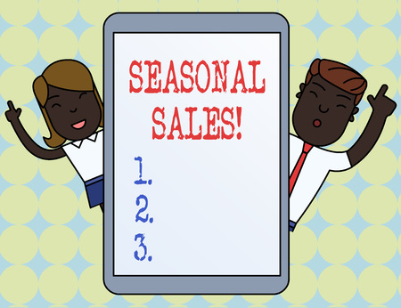 Writing note showing Seasonal Sales. Business concept for Discount which is offered on goods at particular seasons