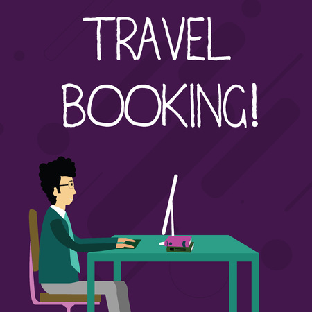 Conceptual hand writing showing Travel Booking. Concept meaning arrangement that you make when you book something for travel Businessman Sitting on Chair Working on Computer and Books