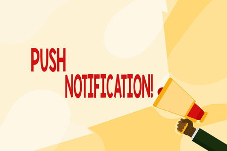 Text sign showing Push Notification. Business photo text automated message sent by an application to a user Hand Holding Megaphone with Blank Wide Beam for Extending the Volume Range Stock fotó
