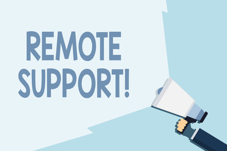 Writing note showing Remote Support. Business concept for help endusers to solve computer problems and issues remotely Hand Holding Megaphone with Beam Extending the Volume Range
