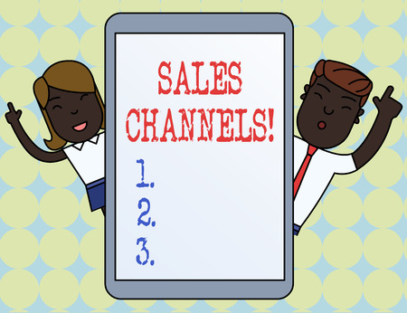 Writing note showing Sales Channels. Business concept for involves a business selling directly to its customers