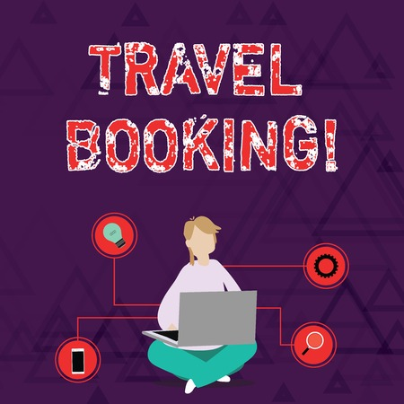 Conceptual hand writing showing Travel Booking. Concept meaning arrangement that you make when you book something for travel Woman Sitting with Crossed Legs on Floor Browsing the Laptop Zdjęcie Seryjne - 122413735