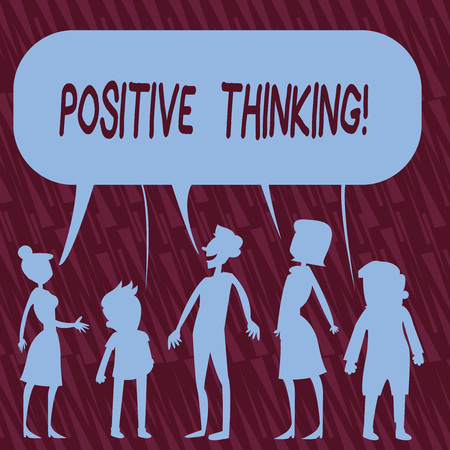 Text sign showing Positive Thinking. Business photo text mental attitude in wich you expect favorable results Silhouette Figure of People Talking and Sharing One Colorful Speech Bubble