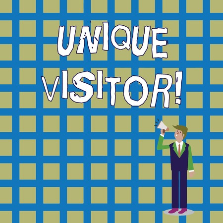 Word writing text Unique Visitor. Business photo showcasing Individuals who have visited a Web site at least once Businessman Looking Up, Holding and Talking on Megaphone with Volume Icon