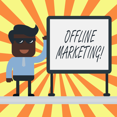 Text sign showing Offline Marketing. Business photo showcasing Advertising strategy published outside of the internet